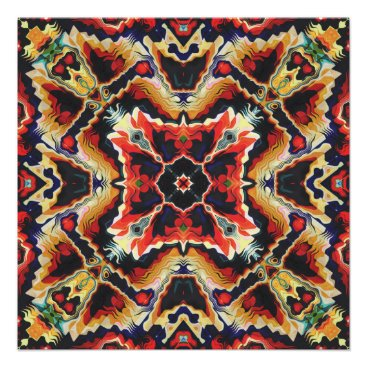 Aztec Themed Colorful Tribal Geometric Abstract Poster