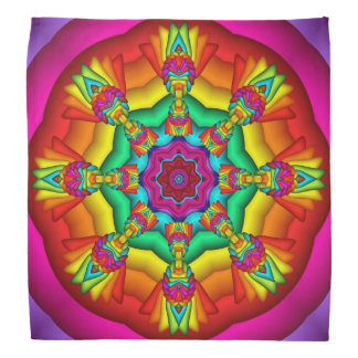 Colorful Tribal Mandala Fractal Bandana