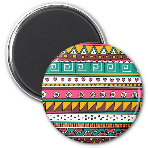 Colorful Tribal pattern 2 Inch Round Magnet
