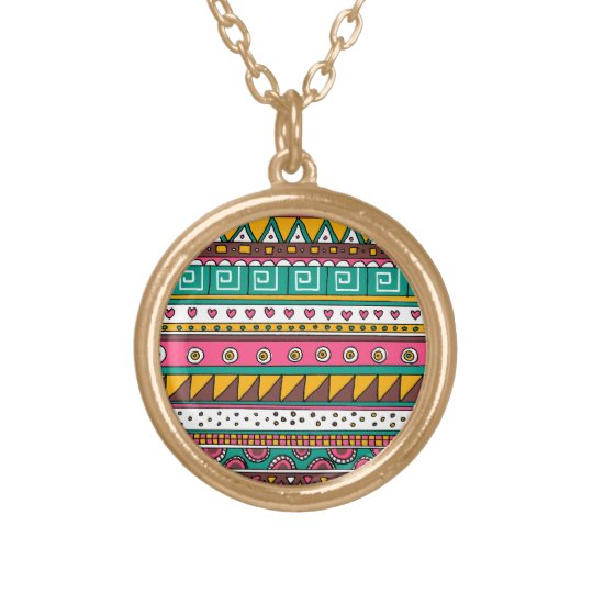 Colorful Tribal pattern Gold Plated Necklace