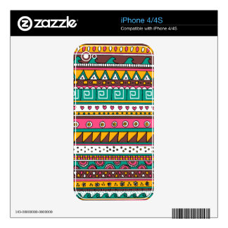 Colorful Tribal pattern iPhone 4 Decal