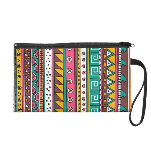 Colorful Tribal pattern Wristlet