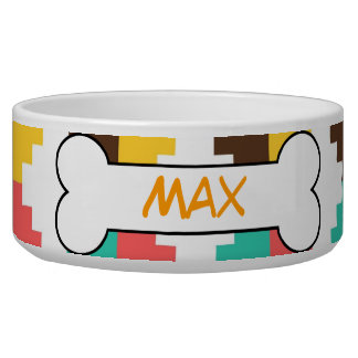 Colorful Tribal Personalized Dog Bowl Food Dish