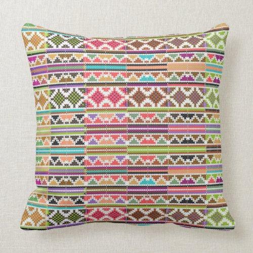 Colorful Tribal Stripes Throw Pillow