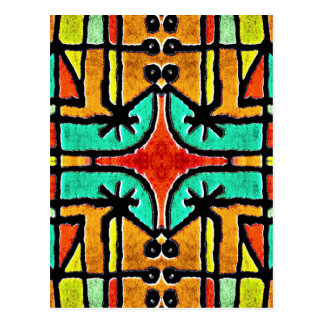 Colorful Tribal Style Geometric Pattern Postcard