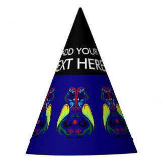 COLORFUL TRIBAL TATTOO OWL PARTY HAT DESIGN