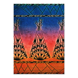 Colorful Tribal Teepees Art Boho Design Card