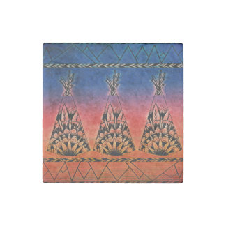 Colorful Tribal Teepees Art Boho Design Stone Magnet