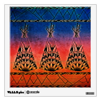 Colorful Tribal Teepees Art Boho Design Wall Decal