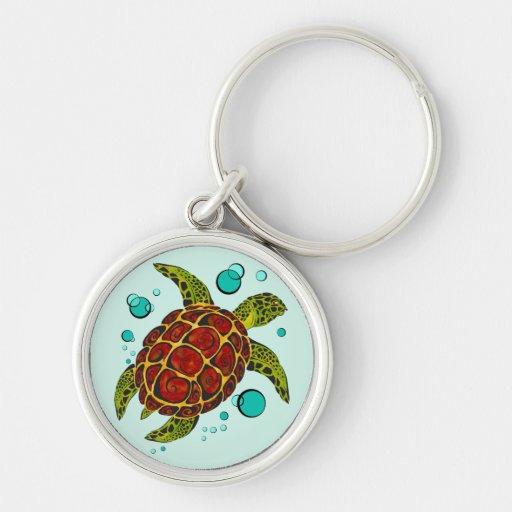 Colorful Tribal Turtle Tattoo Key Chain
