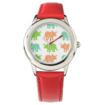 Colorful Triceratops Pattern Wristwatch