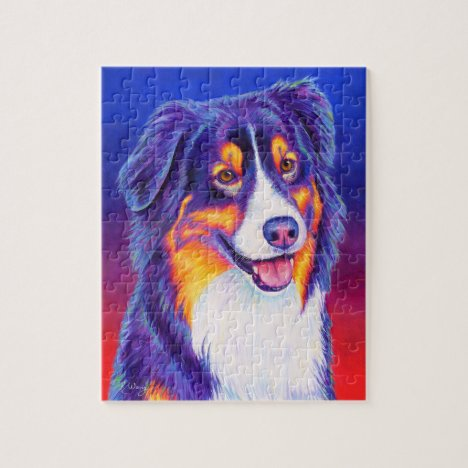 Colorful Tricolor Australian Shepherd Dog Puzzle