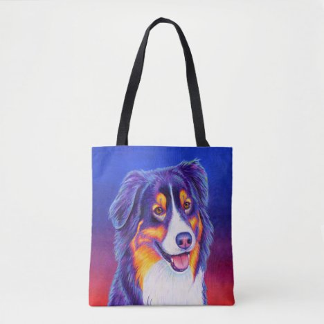 Colorful Tricolor Australian Shepherd Dog Tote Bag