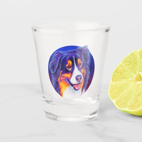 Colorful Tricolor Australian Shepherd Shot Glass