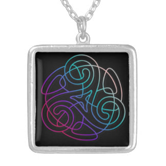 Colorful triskele image silver plated necklace