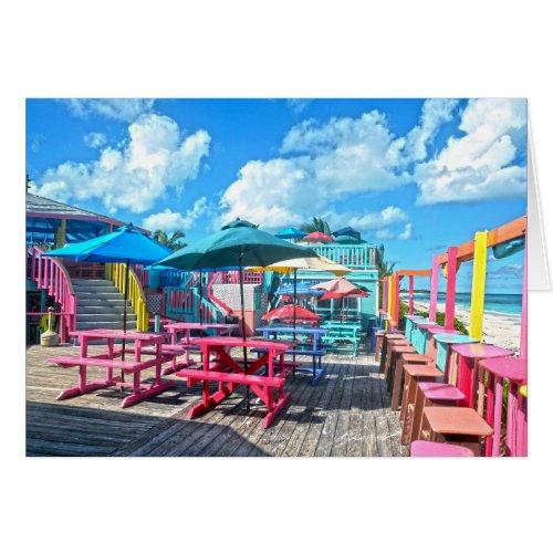 Colorful Tropical Bahamas Beach Bar & Grill Card