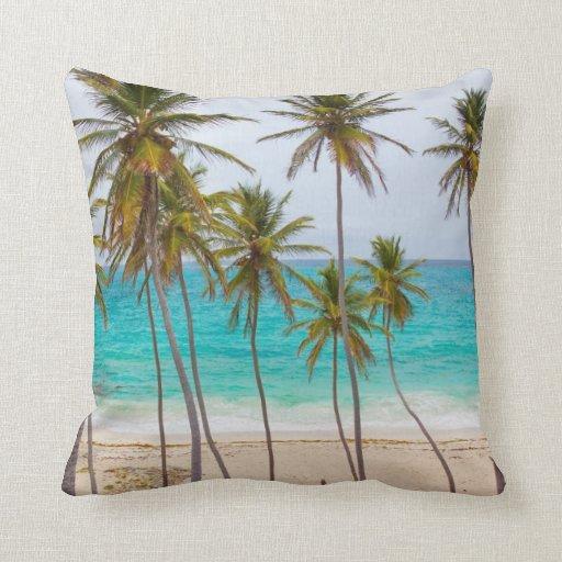 Colorful Tropical Beach Throw Pillow