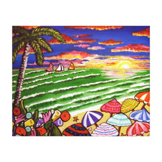 Colorful Tropical Beach Sunset Folk Art Canvas Canvas Prints