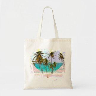Colorful Tropical Beach Tote Bag Heart