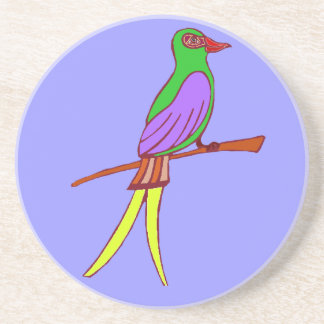 Colorful tropical bird on amethyst background coasters