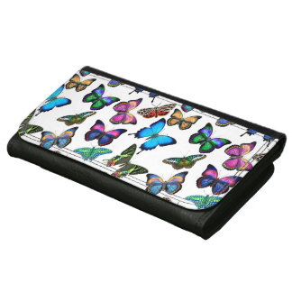 Colorful Tropical Butterflies Leather Wallet
