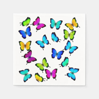 Colorful Tropical Butterflies Paper Napkin