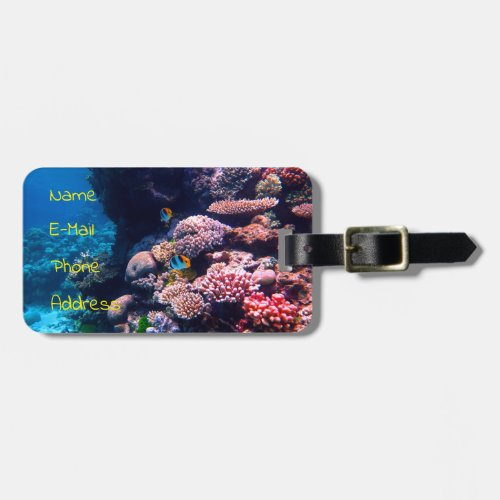 Colorful Tropical Coral Reef Bag Tag