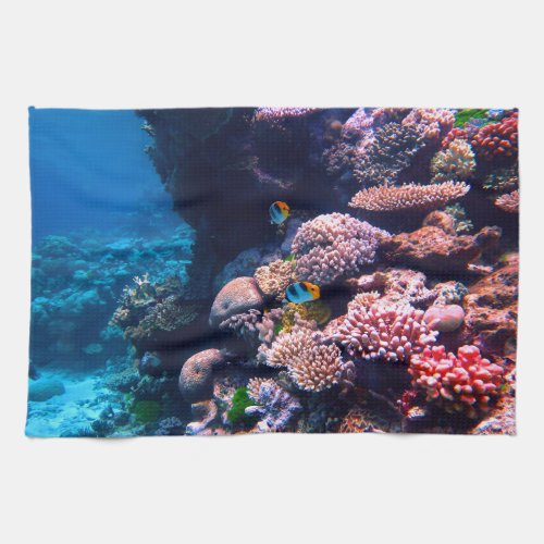 Colorful Tropical Coral Reef Hand Towel