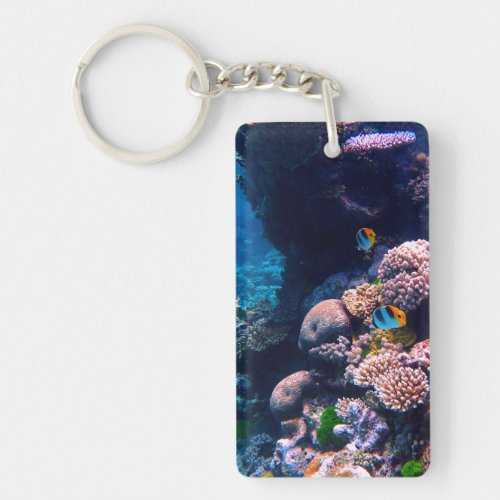 Colorful Tropical Coral Reef Keychain