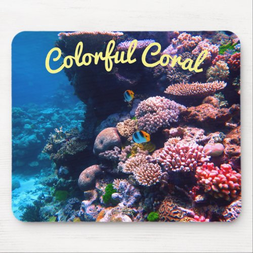 Colorful Tropical Coral Reef Mouse Pad