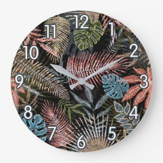 Colorful Tropical Ferns Large Clock