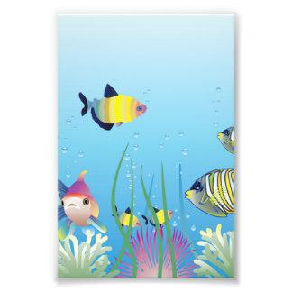 Colorful Tropical Fish & Bubbles Photographic Print