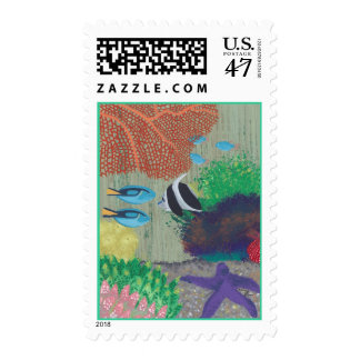Colorful tropical fish painting, postage stamps