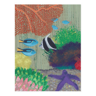 Colorful Tropical fish painting Postcards