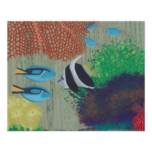 Colorful Tropical fish painting Poster