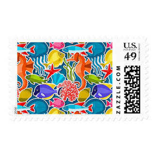 Colorful Tropical Fish Pattern 1 Postage