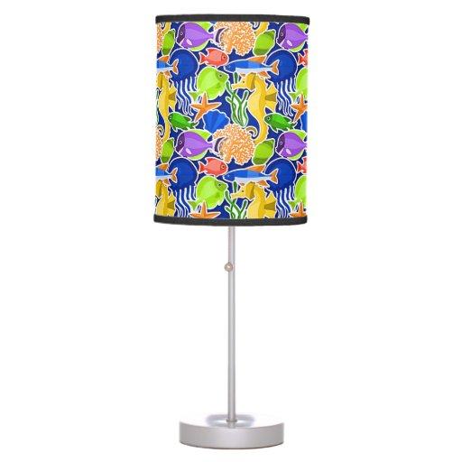 Colorful Tropical Fish Pattern 4 Desk Lamp Zazzle