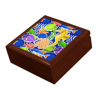 Colorful Tropical Fish Pattern 4 Jewelry Box