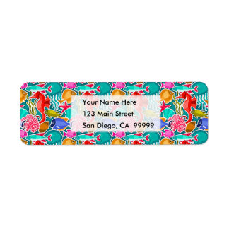 Colorful Tropical Fish Pattern 6 Label