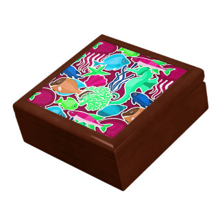 Colorful Tropical Fish Pattern 7 Jewelry Box