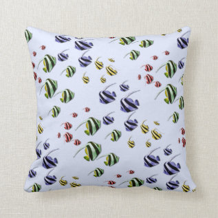 Colorful Tropical Fish Throw Pillow at Zazzle