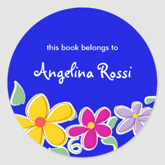 Colorful Tropical Flowers, Bookplates Classic Round Sticker