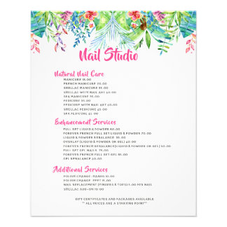 Colorful Tropical Flowers Border Price List Flyer