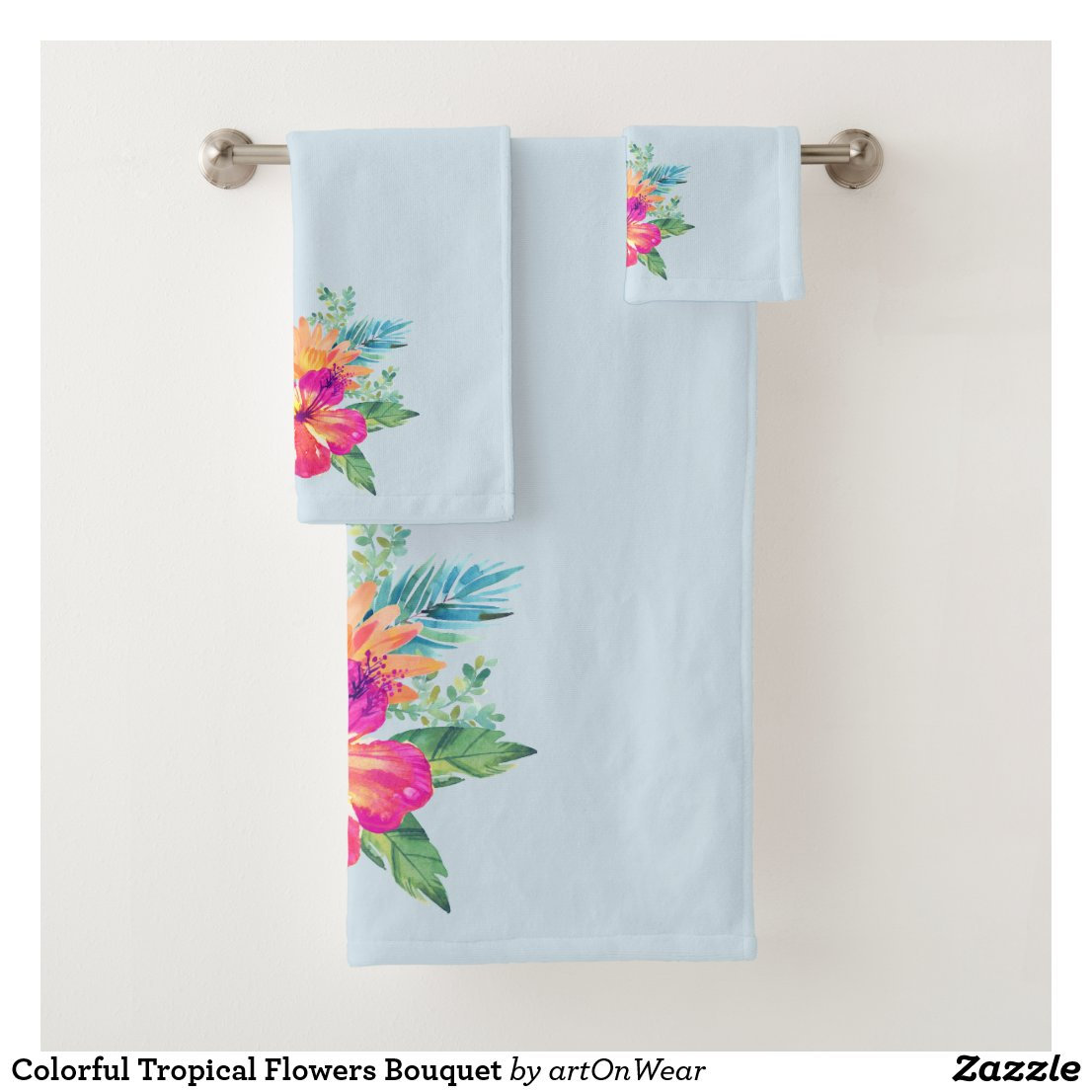 Colorful Tropical Flowers Bouquet Bath Towel Set