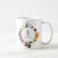 Colorful Tropical Flowers Bouquet Monogram Coffee Mug
