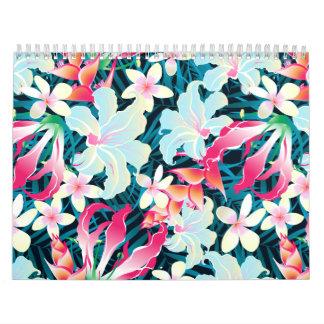 Colorful tropical flowers calendar
