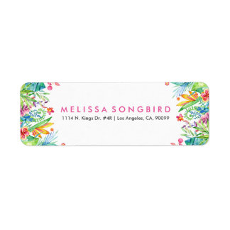 Colorful Tropical Flowers Frame Label