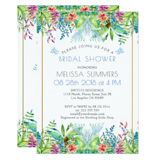 Colorful Tropical Flowers Gold Accent Card