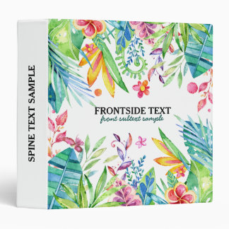 Colorful Tropical Flowers & Leafs Design Binder