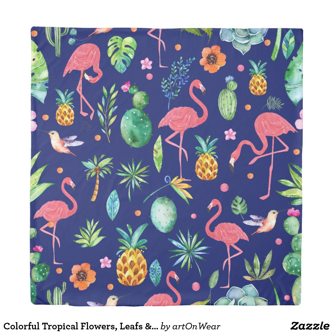 Colorful Tropical Flowers, Leafs & Pink Flamingos